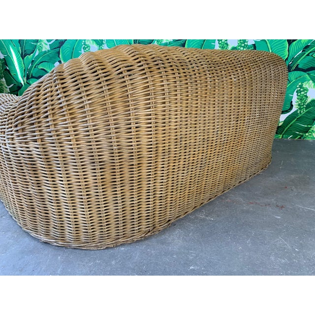 Brown Sculptural Wicker Sofa in the Manner of Michael Taylor For Sale - Image 8 of 11