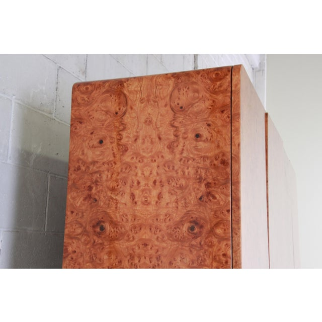 Wood Leon Rosen for Pace Collection Burl Wood Lighted Bar Cabinet or Wall Unit For Sale - Image 7 of 13