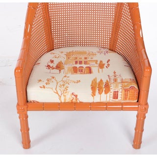 Vintage Mid Century Orange Lacquered Vintage Cane Bamboo Lounge Chairs- A Pair Preview