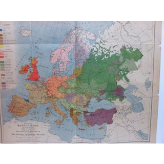 """1919 Vintage """"Map of the Races of Europe"""" National Geographic Magazine Map Preview"""