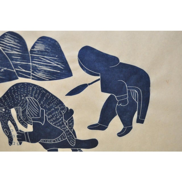 "Helen Kalvak Inuit Western Arctic ""Capture of Wolf"" Silkscreen c.1969 For Sale - Image 4 of 9"