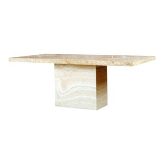 Travertine Pedestal Dining Table For Sale
