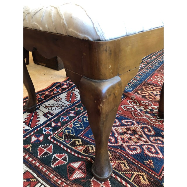 Late 19th Century 19th Century Walnut Queen Anne Revival Style Stool For Sale - Image 5 of 9
