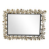 Image of Mid-Century Modern Black and Faux Crystal Accent Beveled Wall Mirror For Sale