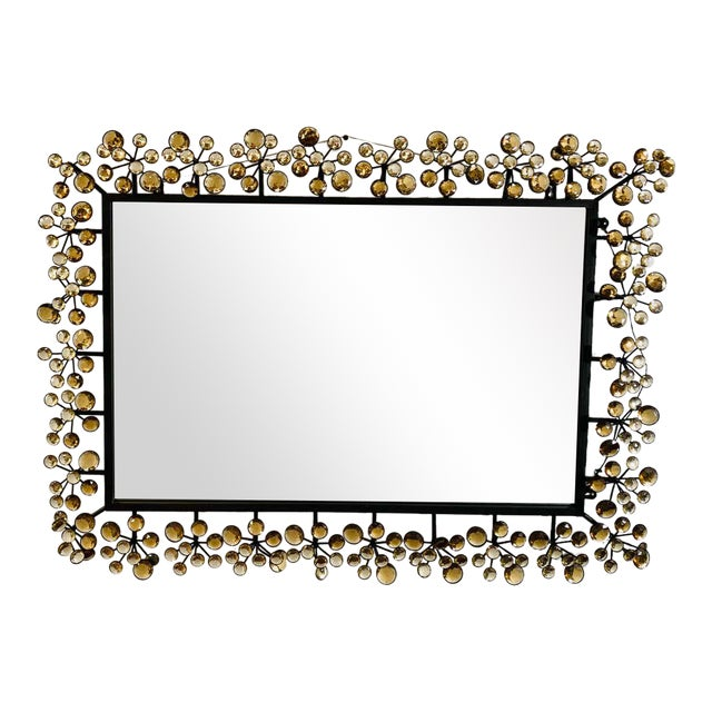 Mid-Century Modern Black and Faux Crystal Accent Beveled Wall Mirror For Sale