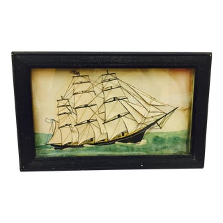 19th Century Ship Diorama in Frame For Sale