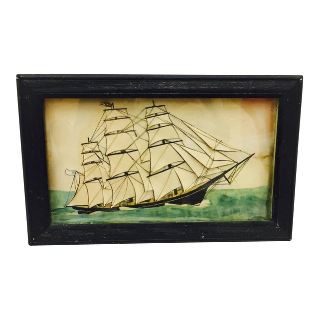 19th Century Ship Diorama in Frame - Image 1 of 11