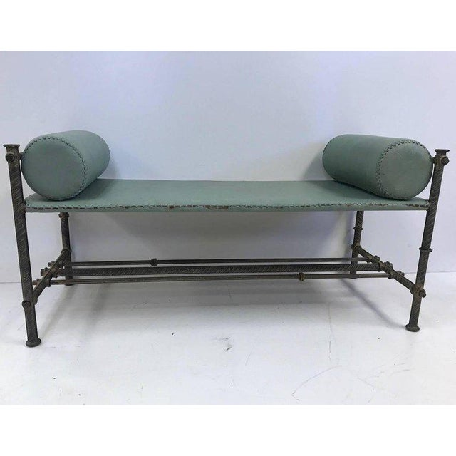 Industrial Industrial Leather Wrought Iron Bench For Sale - Image 3 of 7