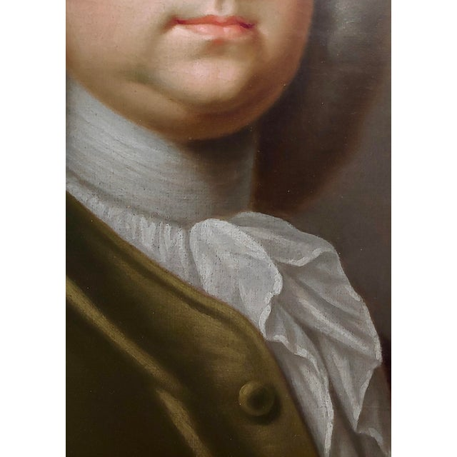Portrait of an English Aristocrat in Green Coat-18th Century Oil Painting Possibly by Thomas Hudson For Sale In Los Angeles - Image 6 of 11