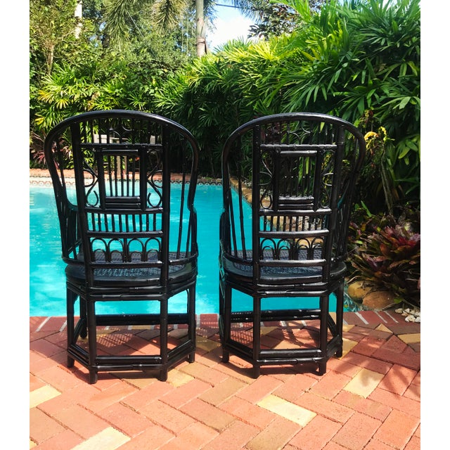 Mid 20th Century Vintage Brighton Pavilion Chinoiserie-Style Black Lacquered Bamboo and Rattan Chairs- a Pair For Sale - Image 5 of 13