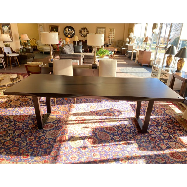 Mitchell Gold Bob Williams 8Ft Kimora Dining Table. Dark wood carved sides with metal legs. A beautiful piece of...