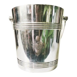 Vintage Christofle Silver Plate Ice Bucket From Air France For Sale