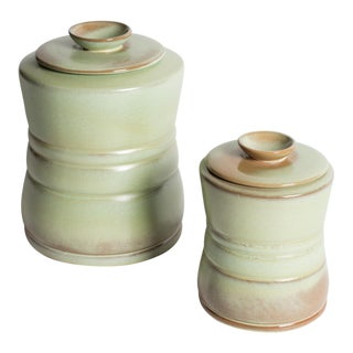 Vintage Frankoma Pottery Canisters - A Pair For Sale