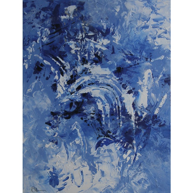 """Wedgwood Blue #2"" Celeste Plowden Painting - Image 1 of 4"