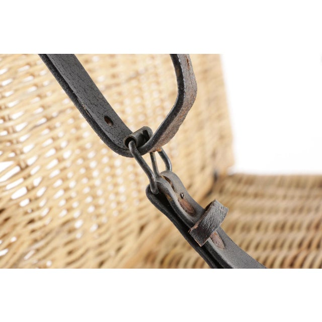 Vintage Wicker Picnic Basket Folding Chair For Sale - Image 9 of 13