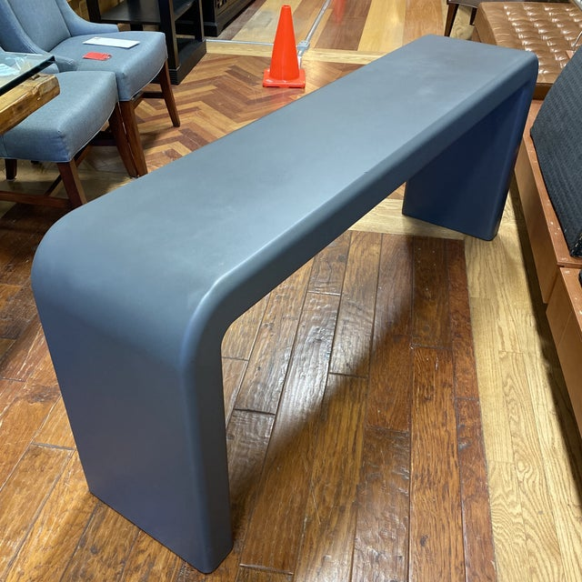 Late 20th Century Karl Springer Style Arch Gray Console Table For Sale In San Francisco - Image 6 of 8