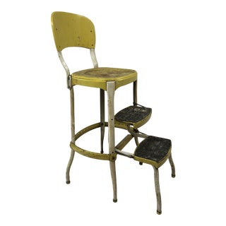Vintage Industrial Yellow Metal Step Stool by Cosco For Sale