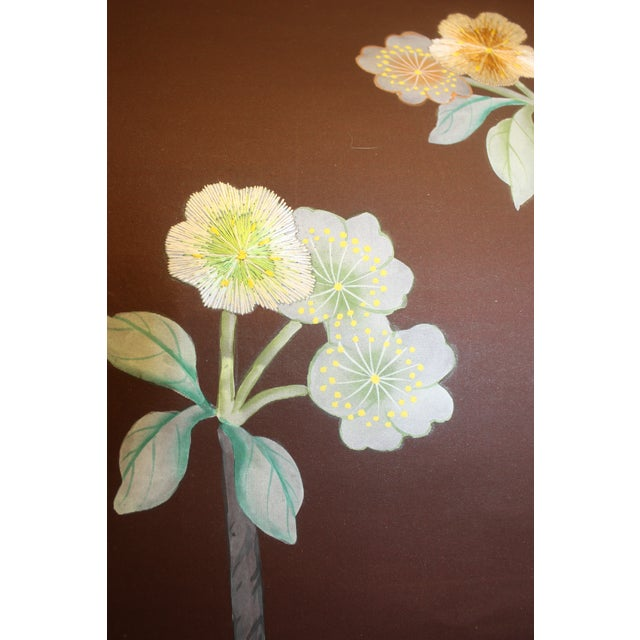 Hand Painted and Embroidered Mural on Paper Backed Silk For Sale - Image 11 of 13