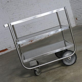Industrial Three Tier Stainless Steel Rolling Cart Vintage Preview