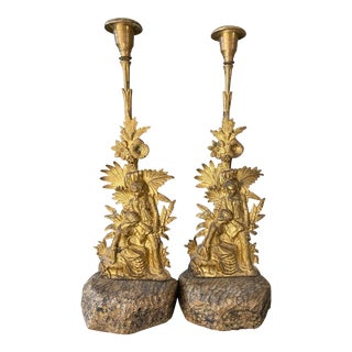 Early 19th Century Cast Brass and Gilded Candlesticks With Romantic Figures From Civil War Period - a Pair For Sale