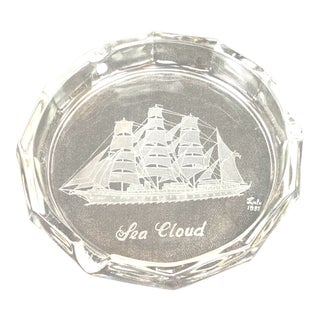 Nautical Etched Glass Ship Ashtray For Sale
