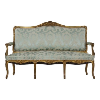 French Louis XV Style Giltwood Antique Settee Sofa in Blue Silk For Sale
