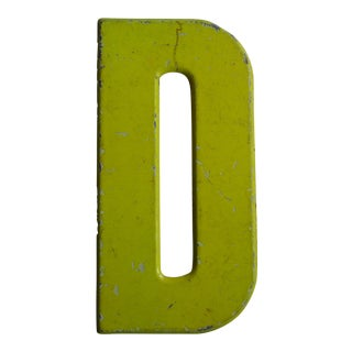 Vintage Rustic Metal Neon Yellow Letter 'D' Sign For Sale