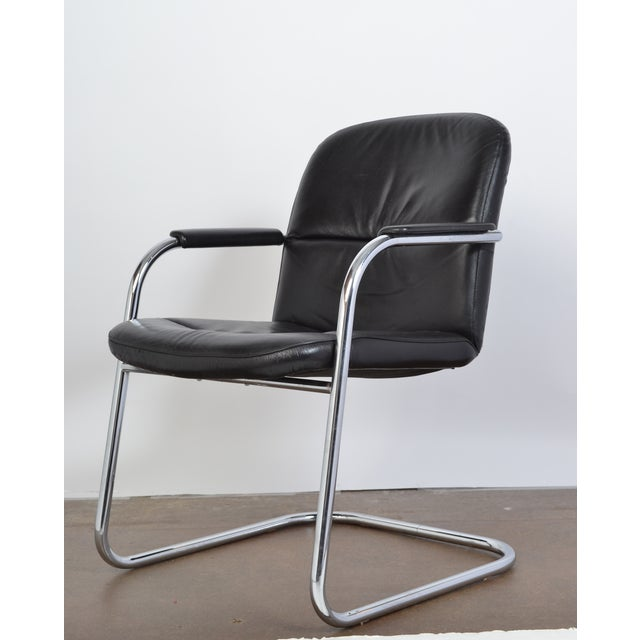 Mid-Century Leather & Chrome Armchairs - A Pair - Image 3 of 10