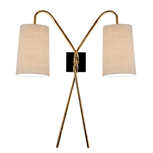 Art Deco Antique Florentine Twist Gold Leaf Wall Light For Sale - Image 3 of 3