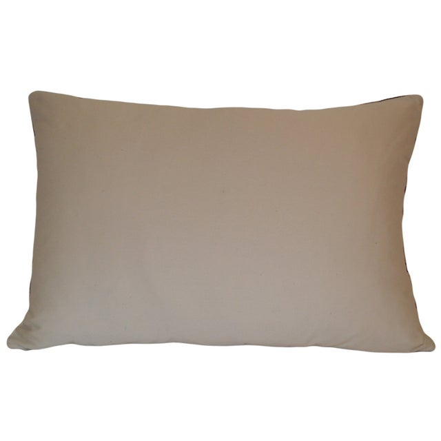 Red, Blue and Beige Silk Velvet Ikat Pillow - Image 2 of 2