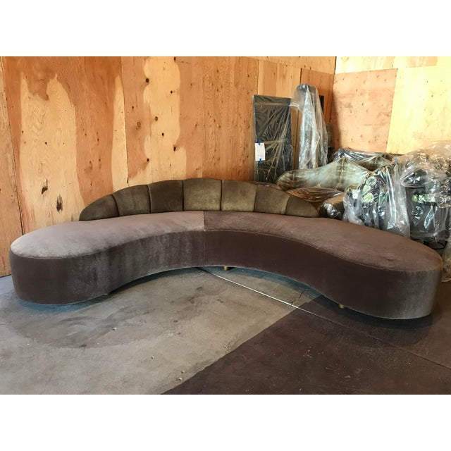 Brown Kagan Style Curved Sofa For Sale - Image 8 of 8