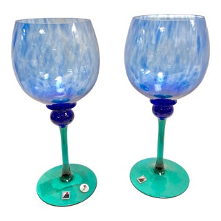 "Set of 2 Signed Opus ""Mardi Gras"" Blue 16oz Balloon Wine Glass For Sale"
