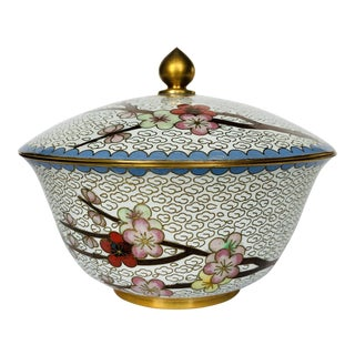 Vintage White Cloisonné Cherry Blossom Covered Dish For Sale