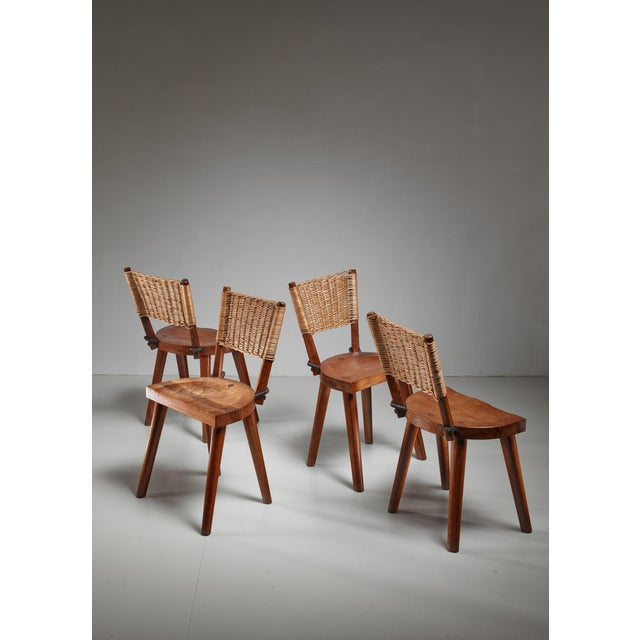 1950s Jean Touret Set of Four Oak and Cane Dining Chairs for Marolles, France, 1950s For Sale - Image 5 of 5