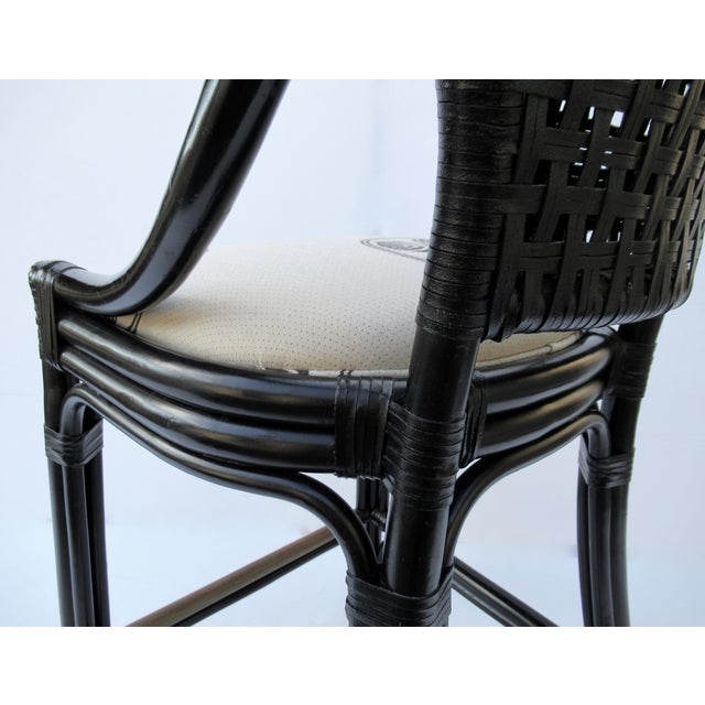 C.1996 Palecek Black Leather Strapped Rattan Counter Stools - a Pair For Sale - Image 11 of 12