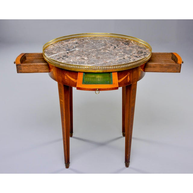 Brown French Oak Marble Top Gueridon With Marquetry and Brass Gallery For Sale - Image 8 of 13