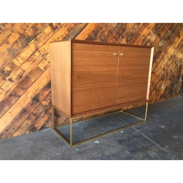 Custom Mid-Century Style Walnut & Brass Credenza For Sale - Image 4 of 6