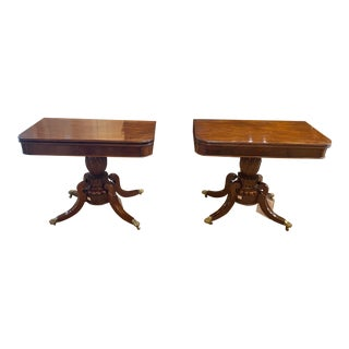 1830 Antique Mahogany Folding Game Tables on Brass Casters - a Pair For Sale