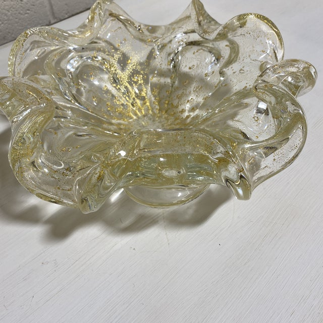 Hollywood Regency Murano Gold Fleck Glass Bowl For Sale - Image 3 of 9