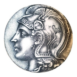 Piero Fornasetti Porcelain Plate Roman Coin Design-Nummus Pattern, 1960s For Sale