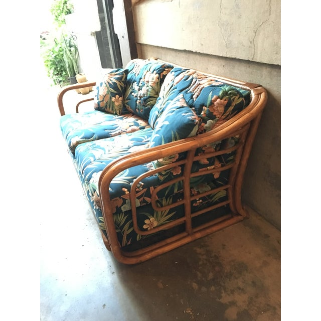 Vintage Rattan & Tropical Print Fabric Upholstered Loveseat - Image 5 of 5