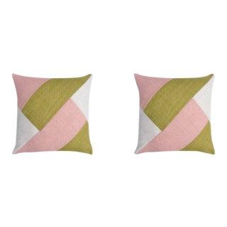 Maxwell Grain Pillows in Blush - a Pair For Sale