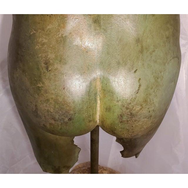 Antique Italian Bronze Life Size Torso W/Stone Base For Sale - Image 12 of 13