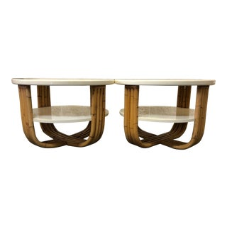 1980s Mid-Century Modern Wood and Bamboo Side Tables - a Pair