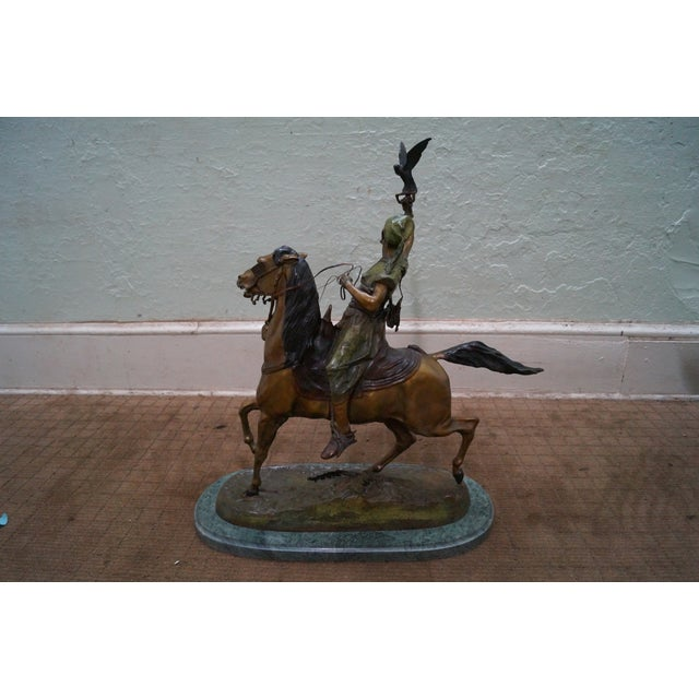 Pj Mene Large Bronze Sculpture Man Riding Horse For Sale - Image 4 of 11