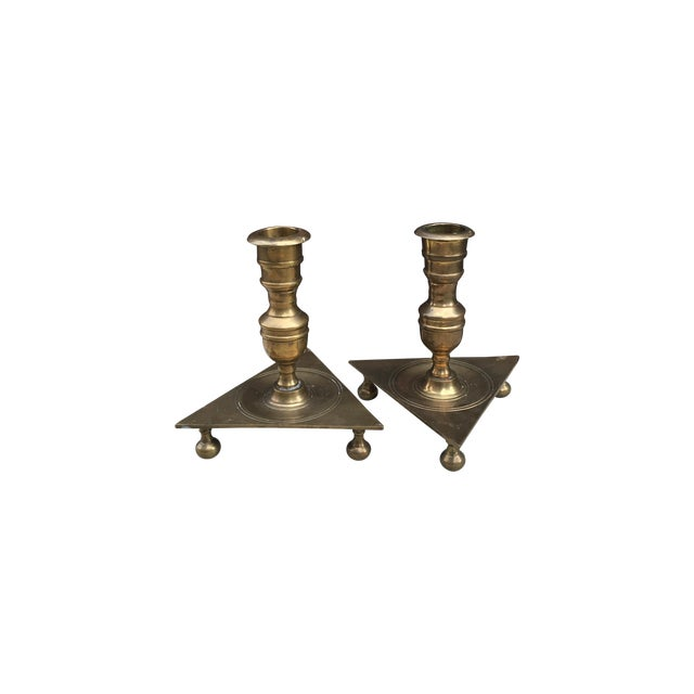 Mid-Century Triangular Brass Candlesticks - A Pair - Image 1 of 5