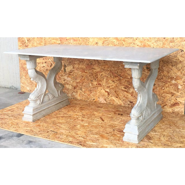 19th Italian Center or Dining Table in Carrara Marble For Sale - Image 4 of 13