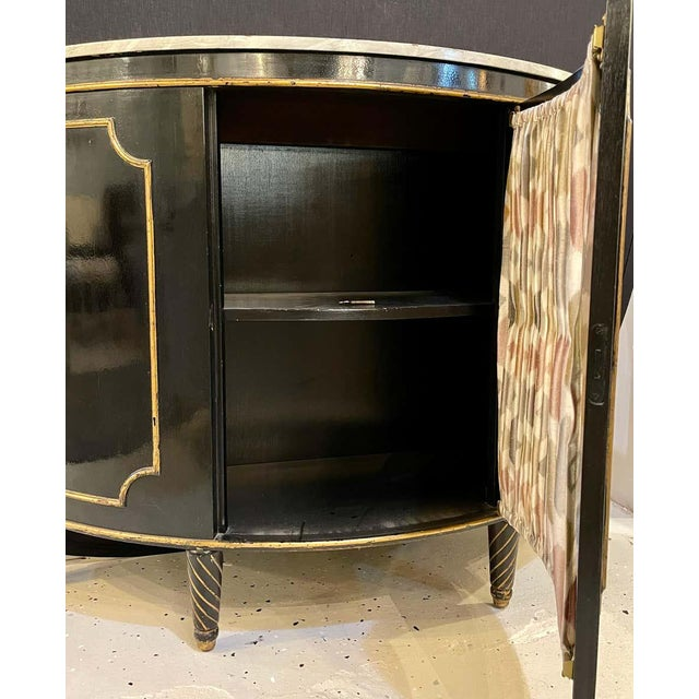 Ebony Demilune Commode or Server Hollywood Regency For Sale - Image 11 of 13