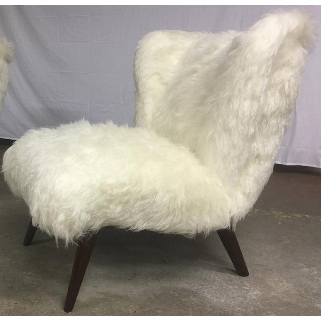 Mid-Century Modern Danish Awesome Pair of Hairy Slipper Chairs Newly Covered in Mohair Faux Fur For Sale - Image 3 of 6