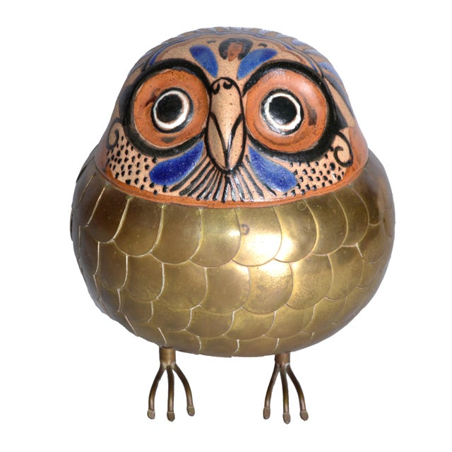 Brass and Pottery Hand Crafted Owl - Image 2 of 8
